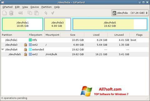 צילום מסך GParted Windows 7