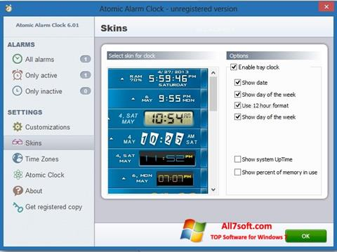 צילום מסך Atomic Alarm Clock Windows 7