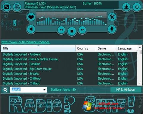 צילום מסך RadioSure Windows 7
