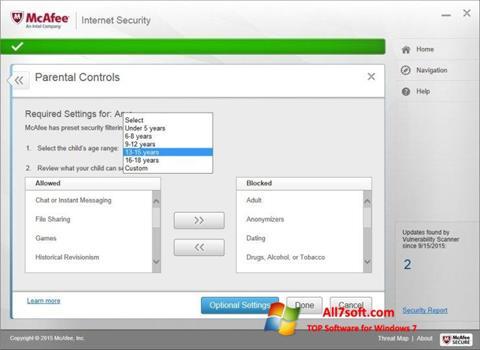 צילום מסך McAfee Windows 7