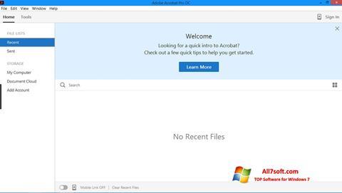 צילום מסך Adobe Acrobat Pro Windows 7