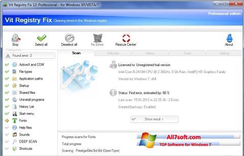 צילום מסך Vit Registry Fix Windows 7