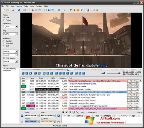 צילום מסך Subtitle Workshop Windows 7