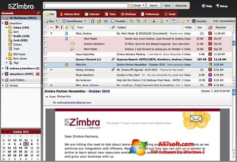 צילום מסך Zimbra Desktop Windows 7