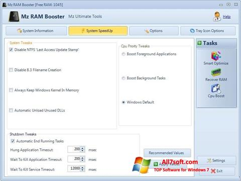 צילום מסך Mz RAM Booster Windows 7