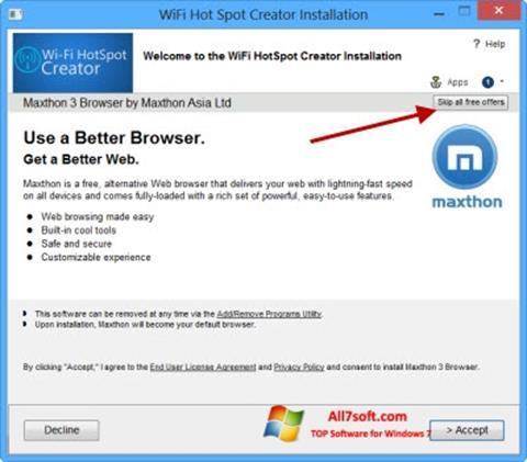 צילום מסך Wi-Fi HotSpot Creator Windows 7