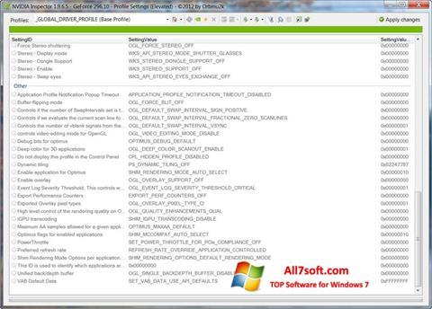 צילום מסך NVIDIA Inspector Windows 7