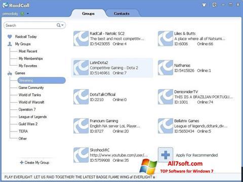 צילום מסך RaidCall Windows 7