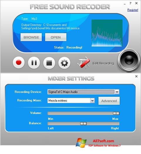 צילום מסך Free Sound Recorder Windows 7