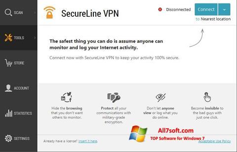 צילום מסך Avast SecureLine VPN Windows 7