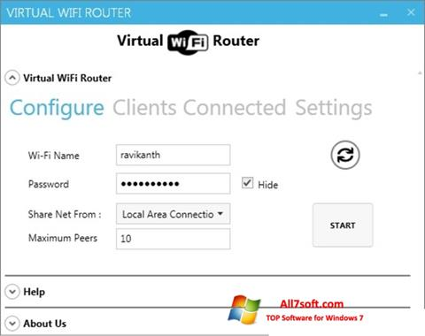 צילום מסך Virtual WiFi Router Windows 7