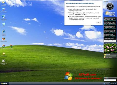 צילום מסך Google Desktop Windows 7