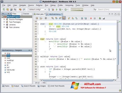צילום מסך NetBeans Windows 7