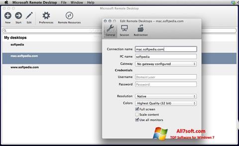 צילום מסך Microsoft Remote Desktop Windows 7