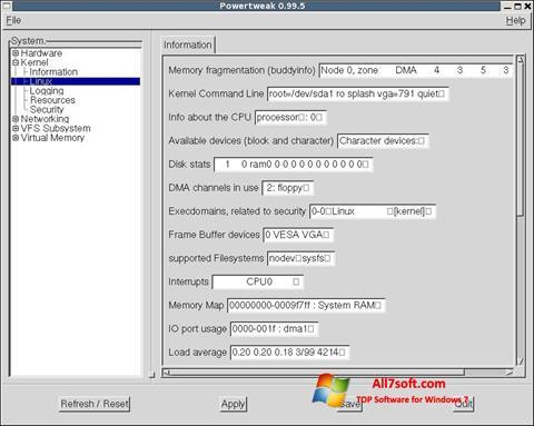 צילום מסך PowerTweak Windows 7