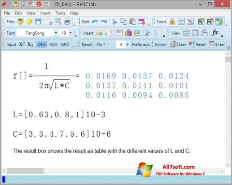צילום מסך RedCrab Calculator Windows 7