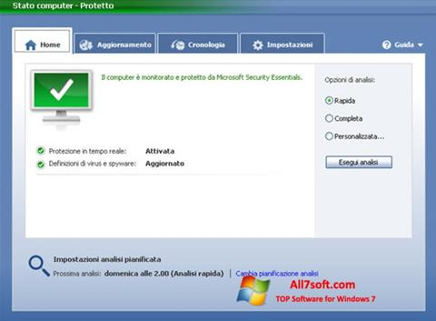 צילום מסך Microsoft Security Essentials Windows 7