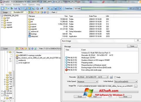 צילום מסך UltraISO Windows 7