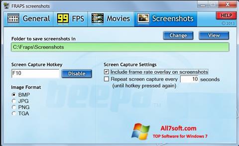 צילום מסך Fraps Windows 7