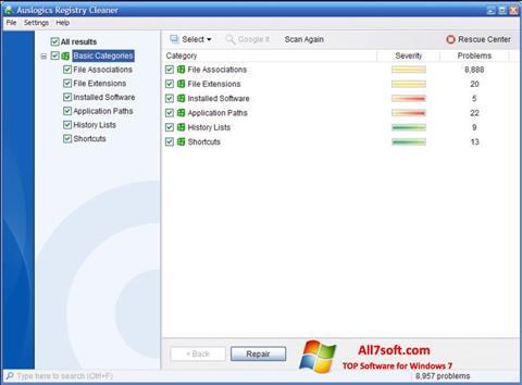 צילום מסך Auslogics Registry Cleaner Windows 7