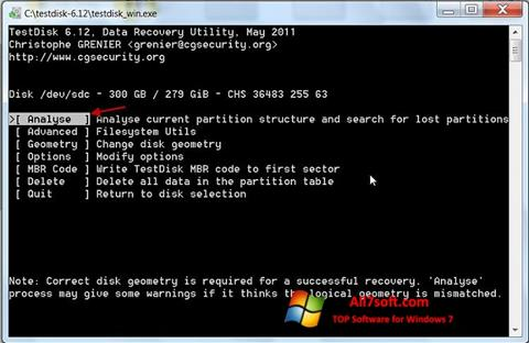 צילום מסך TestDisk Windows 7