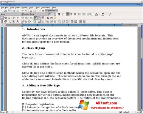 צילום מסך AbiWord Windows 7