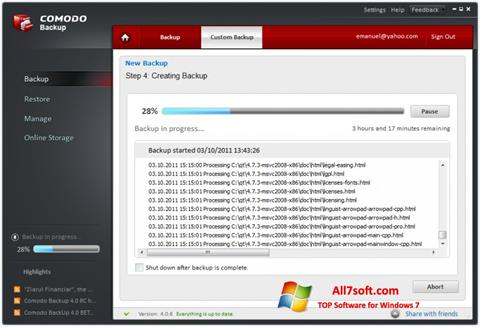 צילום מסך Comodo BackUp Windows 7