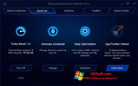 צילום מסך Advanced SystemCare Ultimate Windows 7
