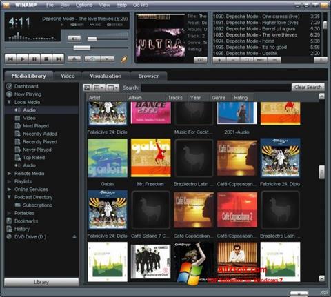צילום מסך Winamp Windows 7