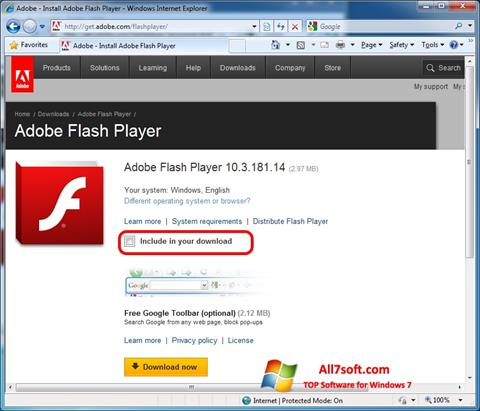 צילום מסך Adobe Flash Player Windows 7