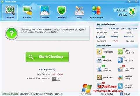 צילום מסך Toolwiz Care Windows 7