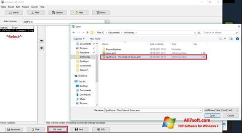 צילום מסך ArtMoney Windows 7