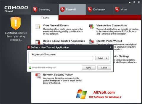 צילום מסך Comodo Firewall Windows 7