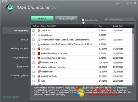 צילום מסך IObit Uninstaller Windows 7