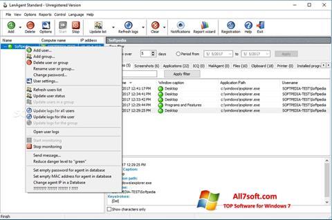 צילום מסך LanAgent Windows 7