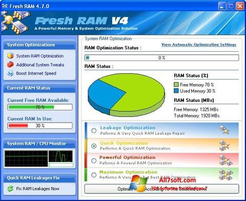 צילום מסך Fresh RAM Windows 7