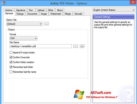 צילום מסך BullZip PDF Printer Windows 7