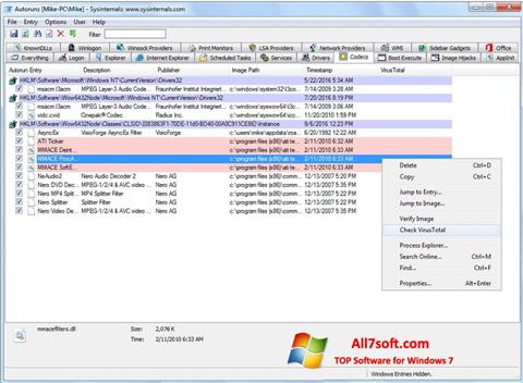 צילום מסך AutoRuns Windows 7
