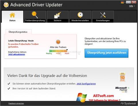 צילום מסך Advanced Driver Updater Windows 7