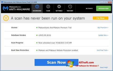 צילום מסך Malwarebytes Anti-Malware Windows 7