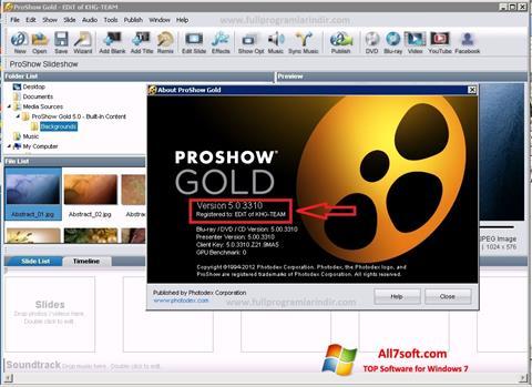 צילום מסך ProShow Gold Windows 7