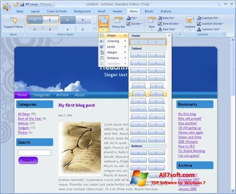 צילום מסך Artisteer Windows 7