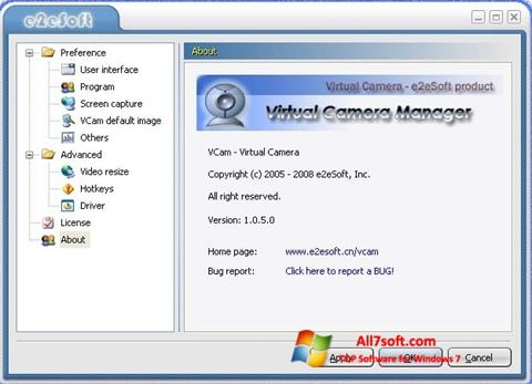 צילום מסך VCam Windows 7