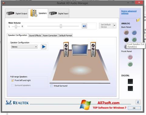 צילום מסך Realtek HD Audio Windows 7