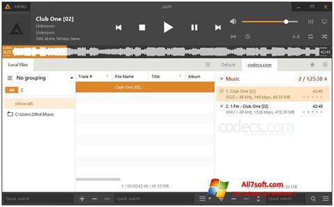 צילום מסך AIMP Windows 7