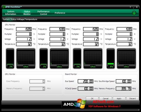 צילום מסך AMD Overdrive Windows 7