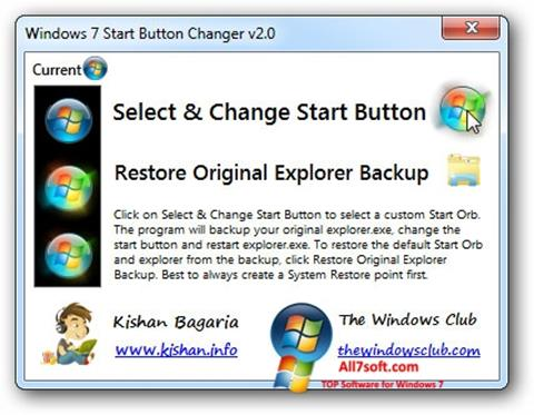 צילום מסך Windows 7 Start Button Changer Windows 7